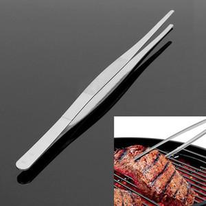 شواء الغذاء الملقط الفولاذ المقاوم للصدأ الصناعية أسنان الملقط الطويل مستقيم الملقط المنزل الطبية حديقة المطبخ الشواء bbq أداة الملحقات
