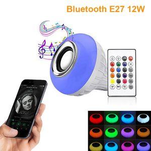 Bluetooth Bulb ампул Светодиодная лампа E27 E14 GU10 RGB ночь лампа с пультом дистанционного управления для домашнего прожектора музыка лампы AC85-265V