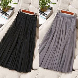 AjgCI boutique de moda Moda principios de la primavera de las mujeres con encanto 811305 nueva cintura elástica de malla grande falda de Internet Celebrity delgada dama falda 81