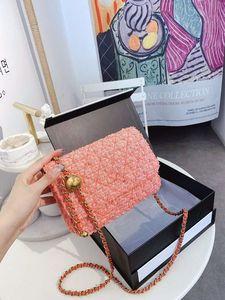 Una mujer del hombro del color de la vendimia de las mujeres bolsos de tela Bump cadena de la perla oblicua Satchel Mujer cuero auténtico bolso con alta calidad