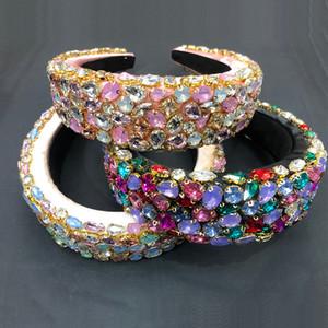 Bunte Barock voller Kristallstirnband für Frauen Stirnband Luxus, Glänzend Padded Diamant Haarreif Haarschmuck Freies DHL