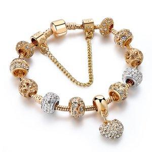 Crystal Heart Charm Bracelets&Bangles Gold Bracelets For Women Jewelry Making Beads DIY jewwry Bracelets fanshion bracelet bangle