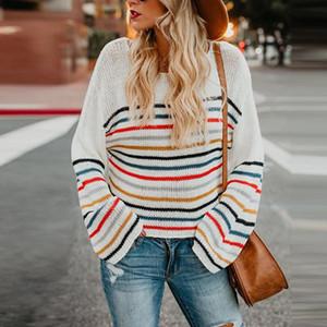CWFMZQ Сыпучие Осень свитер женщин 2020 Корейский Vintage Вязаные свитера Крупногабаритные фонариков рукавом Женский Пуловеры полосатые топы