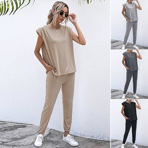 2 Piece Set Women Tracksuits Casual 2 Pcs Short Sleeve O-Neck Tops and Trousers Lounge Sports Suits X0923