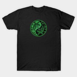 Мужчины T-Shirt Зеленый и черный Инь Ян Geckos Tshirt Женщины тенниска