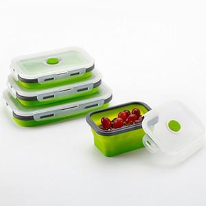 Складная Meal Box силикона портативный ланч-бокс BPA Free Поддержка Микроволновая печь 4шт Складная Открытый Контейнер для хранения