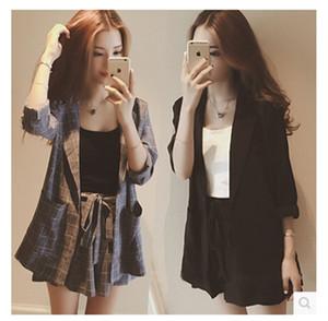 f9LNJ 2020 no início da primavera novo estilo coreano Início da primavera Yujie moda Yujie moda Internet celebridade pequeno naipe roupas de verão terno das mulheres