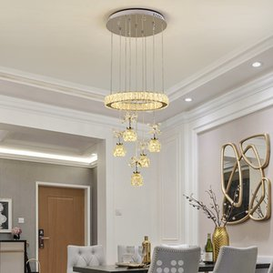 Modern Crystal Chandelier Three Creative Dining Table Lamp LED Remote Control Dimming Household Living room Lamp