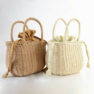 NoEnName-Null estate donne tessute a mano Rattan Bag paglia borsa di vimini Beach Wedding borsa Estate Cestello frizione sacchetti di acquisto