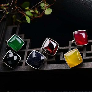 Rote Frauen Garnet Stein Achat Ohrringe einfache Temperament Garnet Achat Chalcedon Ohrringe Korea 925 Silber Persönlichkeit