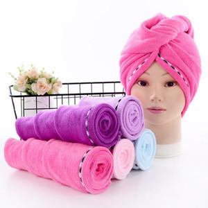 Toalla de microfibra absorbente cabello seco El cabello seco Caps secado turbante Wrap sombrero de ducha de baño Spa Caps textiles para el hogar 5 colores BWC895