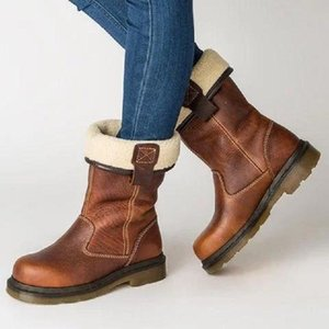 Hot Women Fashion Winter Boots Pleated Warm Retro Fleeces Leather Handmade Ankle Shoes Female Office Party Boots Couple