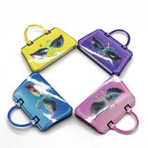 클리어 트레이 밍크 케이스 속눈썹 사용자 정의 로고와 5D의 25mm 속눈썹을위한 새로운 디자인 나비 핸드백 스타일 속눈썹 포장 상자