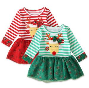 Les concepteurs de Noël Halloween enfants à manches longues col rond robes rayées Elk Printed Bébés filles Fashion Party enfants Vêtements E92701