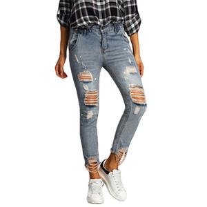 Damen-Jeans Loch zerrissene Jeans Frauenhosen Denim Vintage gerade Jeans für Mädchen Mid Taille beiläufige Hosen weiblichen kühlen