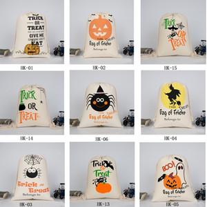 قماش هالوين سانتس كاندي حقيبة كبيرة حقائب الرباط هدية كيس القرع مطبوعة على هالووماس عيد الميلاد الديكور