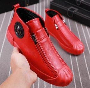عالية أعلى أحذية الذكور الخيوط مزدوجة السلامة المشاهير عارضة الأحذية المألوف الذكور مارتن الأحذية الأحمر مع المخملية الجانب سحاب مجلس حذاء