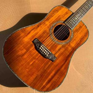 Özel 12 Strings Katı Koa Wood Üst Abalone Kakma 45DK Akustik Electric Guitar Bağlama