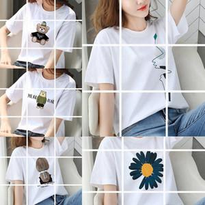 2020 estate nuova T-shirt a maniche corte coreano T-shirt Copricapo usura studente cartone animato casuale allentata di modo della stampa delle donne copricapo tutto-fiammifero t
