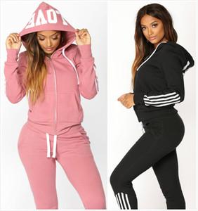 Autumn Womens Designer Mode Trainingsanzüge Marke Sportwear Yoga Brief Gedruckt Zwei Teile Set Hoodies Casual 2 stücke Mit Kapuze Winter Kleidung Anzüge