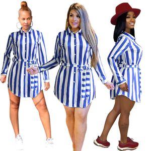 2020 Femmes Casual Shirt Robe Fashion blanc rayé bleu simple boutonnage robe à manches longues Tenues Daily