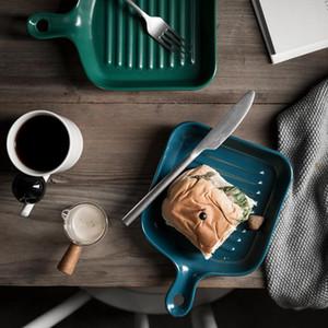 новые Nordic керамические пластин с ручкой Под-керамической глазурованной посудой Творческого Десерта Лоток Посуда для духовки выпечка DWD1023