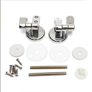 Universal Adjustable Pair of Replacement Chrome Toilet Seat Hinge Set Pair With Fittings