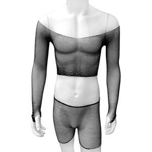 See through Mens Mesh Lingerie Set Gentlemen Underwear Exotic With Diamond Male Sleepwear Gay Sissy Long Sleeve Nightwear