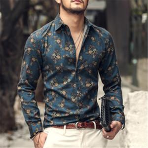 autumn ins new fashion flower printed long sleeve shirts men camisa male slim flower shirt vintage Linen Casual Men Shirt S2004 200925