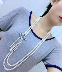 Hand knotted 95-100cm noble 2strands 7-8mm white freshwater pearl micro inlay zircon accessories pearl pendant necklace