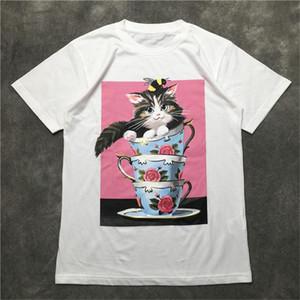 Calle Moda hombre Camiseta 2020 taza de té de aceite del gato pintura Polos manga corta camisas Hombres Mujeres alta calidad del estilo de Hip Hop jersey Tee
