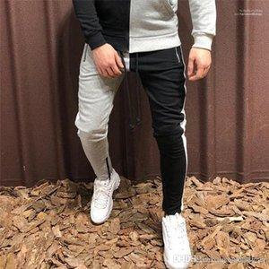 con cremallera Casual delgado deporte rayadas Ropa Mans contraste de color con paneles pantalones diseñador de moda de hombre Pantalones