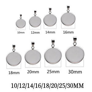 20pcs Stainless Steel Blanks Pendant Base Settings Cabochon Round 10 12 14 16 18 20 25 30mm Bezel Trays Jewelry Making Supplies