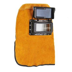 Cowhide Welder Mask Sparkproof Leather Hood Protect Welding Helmet Filter Lens Yellow Solder Slag Mars Arc Tig Mig Head-Mounted