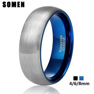 Somen Anello Uomini inciso 4 millimetri 6 millimetri 8 millimetri anello del tungsteno su misura per la coppia le donne Vintage Wedding Band coppia Anelli di fidanzamento ANNELLI
