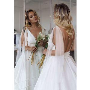 Beach Wedding Dresses 2020 deep V-Neck open backlkess Pleats Organza A-Line Wedding Gown Plus Size Princess Bride Dress Vestido De Noiva