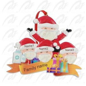 2020 الحجر راتنج شجرة عيد الميلاد معلقة زخرفة عيد الميلاد الديكور هدية عائلة زخرفة مع قناع اليد مطهرة GGA3743-5