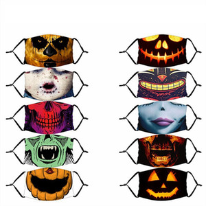 Halloween Funny Face Mask 3D Painting Pumpkin Skull V Vendetta Mask Reusable Washable Mouth Masks Protective HHA1515