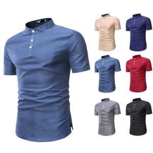 Colore risvolto Collare Camicie Uomo pulsante Adatta Basis manica corta maglietta casuale del progettista parti superiori di estate Mens Solid