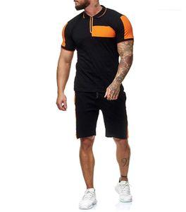 Anzüge Kurzarmhemden Shorts Sets Art und Weise 2pcs Panelled Kontrast-Farben-beiläufige Tracksuits Männlich Kleidung Mens-Sommer-Designer