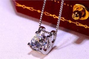 Wedding Engagement стерлингового серебра 2CT Муассанит Алмазное ожерелье серебряных цепей Женщины подарки D / VSS1 Hip Hop Pass алмаз Pen Test