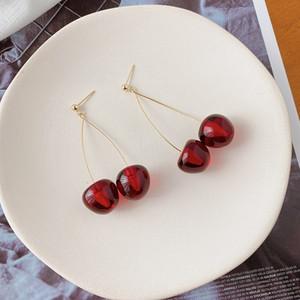 Korean New Cherry Red elegante silberne Nadel und Fashion Net rote Ohrringe langen Acryl Ohrringe 6VtON