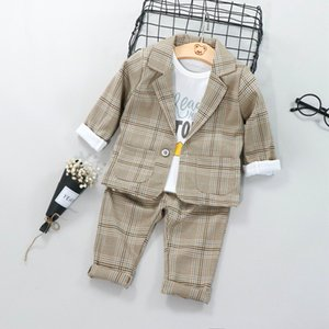 Boys Suits Blazers Fashion White Shirts Plaid Tops Long Pants Cotton Chlidren Clothing Sets Child Wedding Jacket for Kids T200819