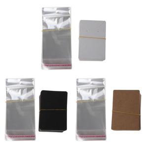 100Pcs Blank Imballaggio dei monili della carta kraft carta di tag utilizzati per l'orecchino collana di visualizzazione schede con 100pcs Self-sacchetto della guarnizione