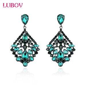 LUBOV Luxury Colorful Crystal Glass Big Pendant Drop Earrings Personality Statement Dangle Earrings Women Fashion Jewelry