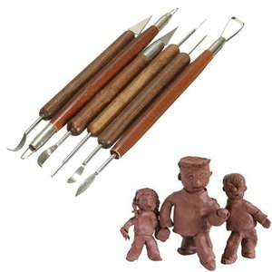 Top 6 Pieces set of Sharp Clay Sculpture Wax Carving Pottery Tools Shaping Machine Wooden Handle Diy Ceramic Clay Sculpture Tools
