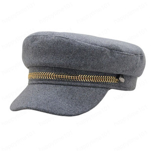 Autumn Winter Vintage Chain Black Military Hat for Men Women Flat Top Sailor Hat Travel Hat Fashion Beret Cap