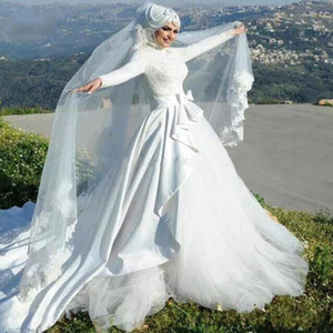 Elegant Muslim Long Sleeve Wedding Dresses High Collar Overskirt Bridal Gowns Long Train Bow Peplum Arabic Islamic Vestidos De Noiva L34