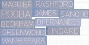 2020-2021 home GREENWOOD GREENWOOD MAGUIRE POGBA SANCHO BECKHAM RASHFORD LINGARD B.FERNANDES JAMES nameset patch badge