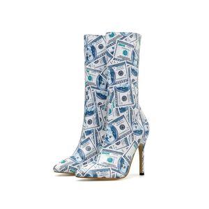 2020 Sexy Botas Mulheres Dinheiro Impresso Outono Mid Tubo Bota de pele Salto Fashion Show Lady High Heel Stiletto Shoes Highstreet